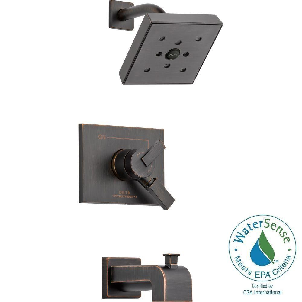 Delta Vero 1-Handle H2Okinetic Tub and Shower Faucet Trim Kit in Venetian Bronze (Valve Not Included)
