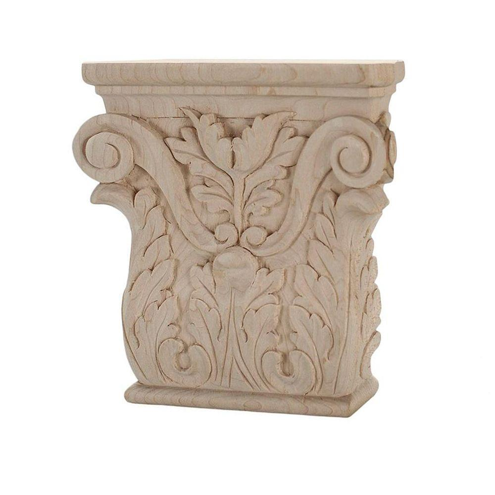 American Pro Decor 4 in. x 3-7/8 in. x 1 in. Unfinished Hand Carved Solid American Hard Maple Acanthus Wood Onlay Capital Wood Applique