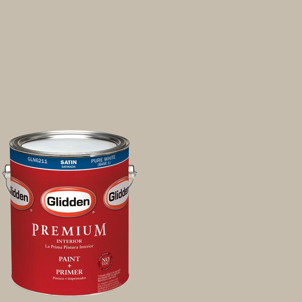 Interior Paint, Exterior Paint & Paint Samples: Glidden Premium Paint 1-gal. #HDGWN27U Burmese Beige Satin Latex Interior Paint with Primer HDGWN27UP-01SA