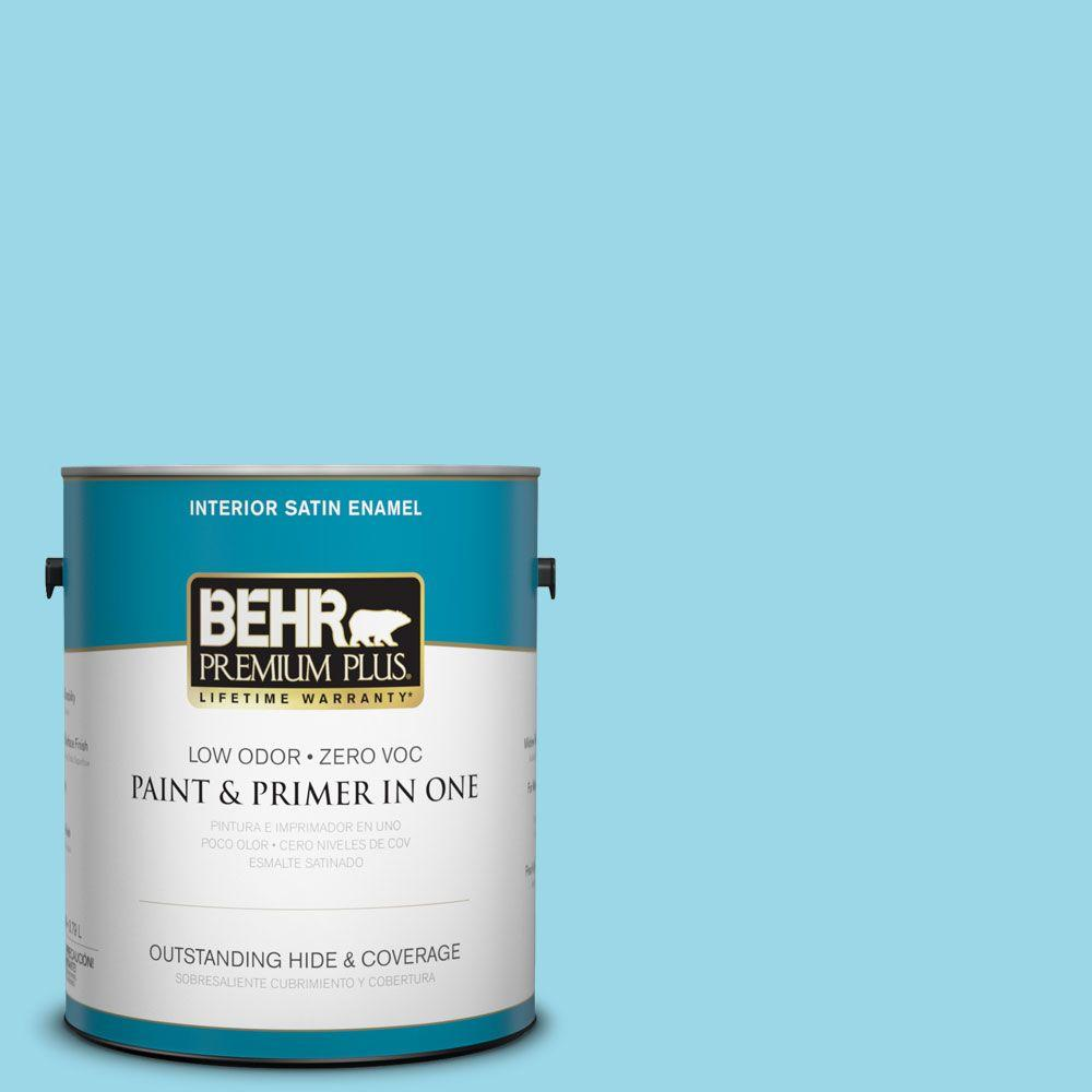 1-gal. #P480-3 Cool Water Lake Satin Enamel Interior Paint