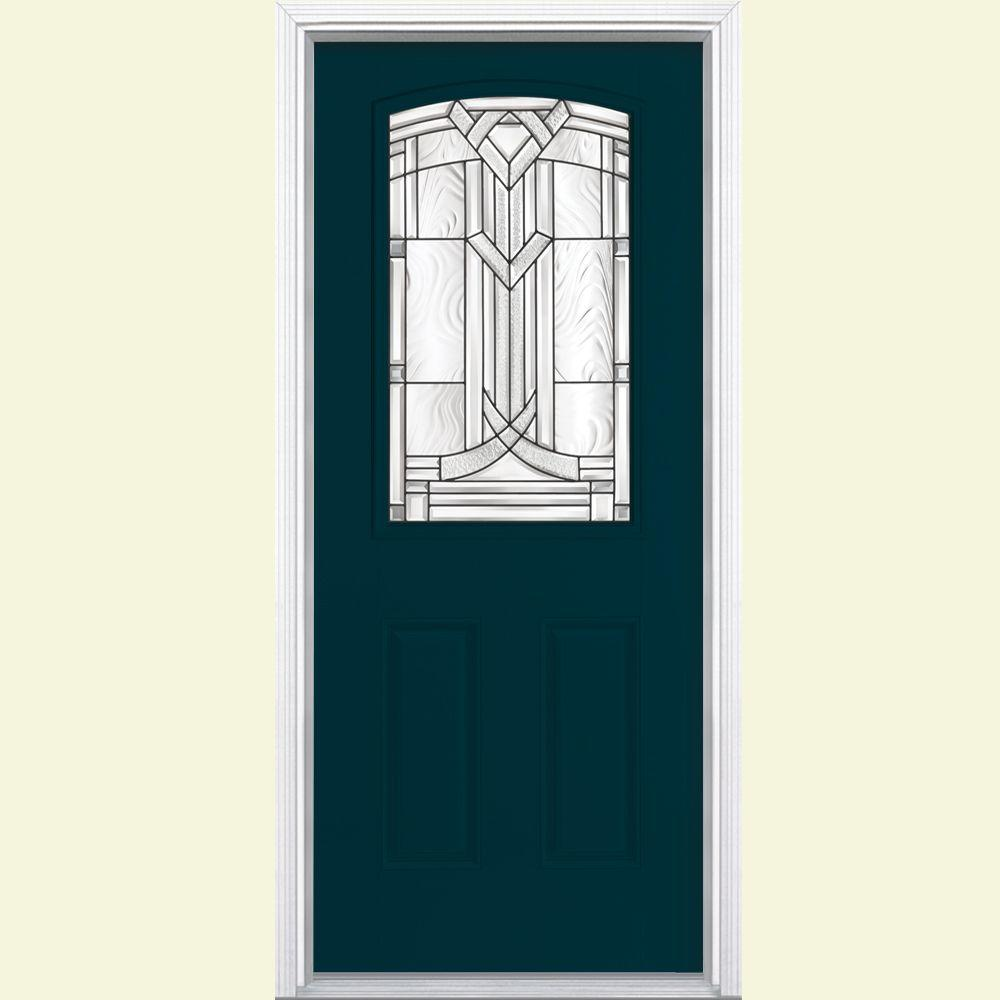 Masonite 36 in. x 80 in. Chatham Camber Top Half Lite Painted Smooth Fiberglass Prehung Front Door with Brickmold
