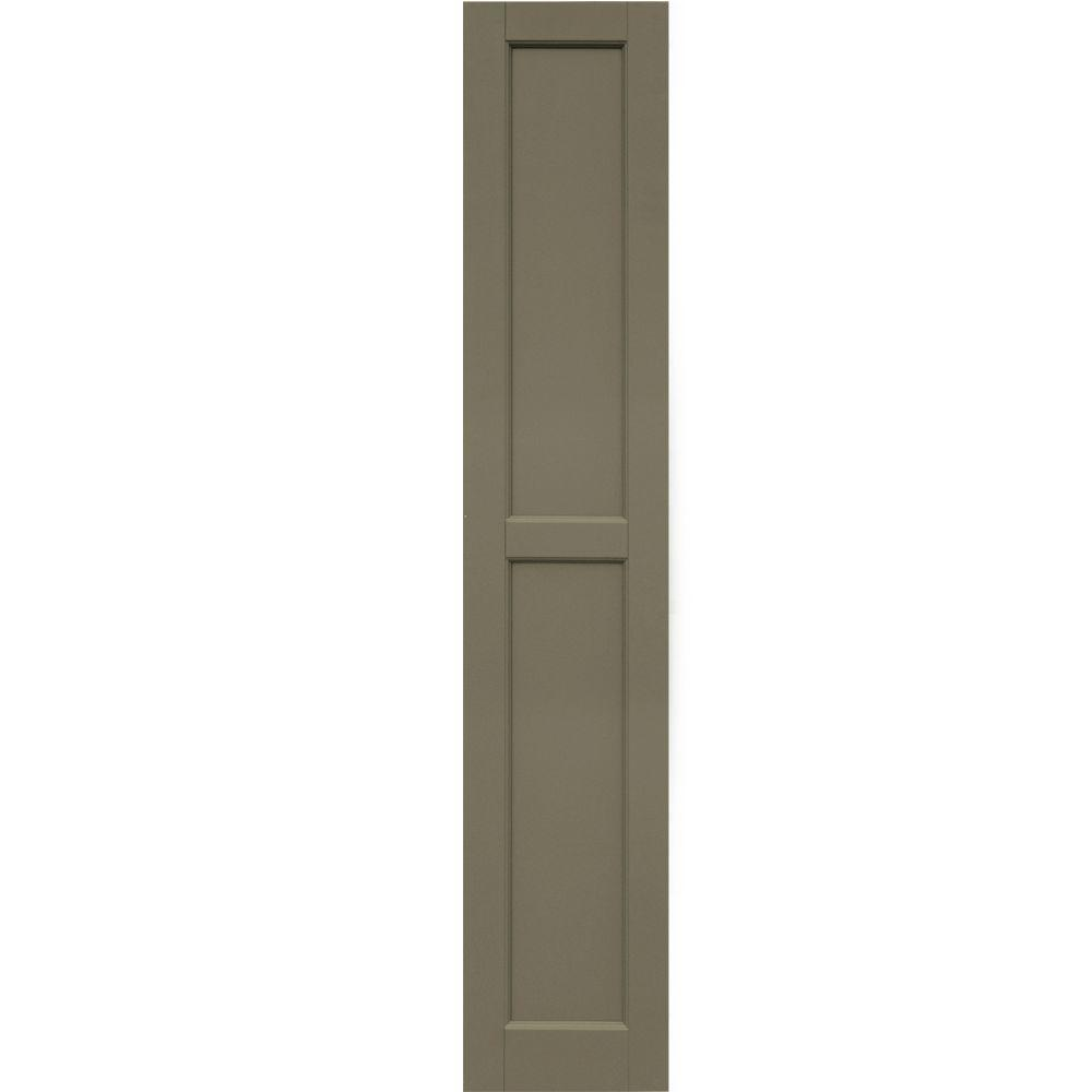 Winworks Wood Composite 12 in. x 64 in. Contemporary Flat Panel Shutters Pair #660 Weathered Shingle