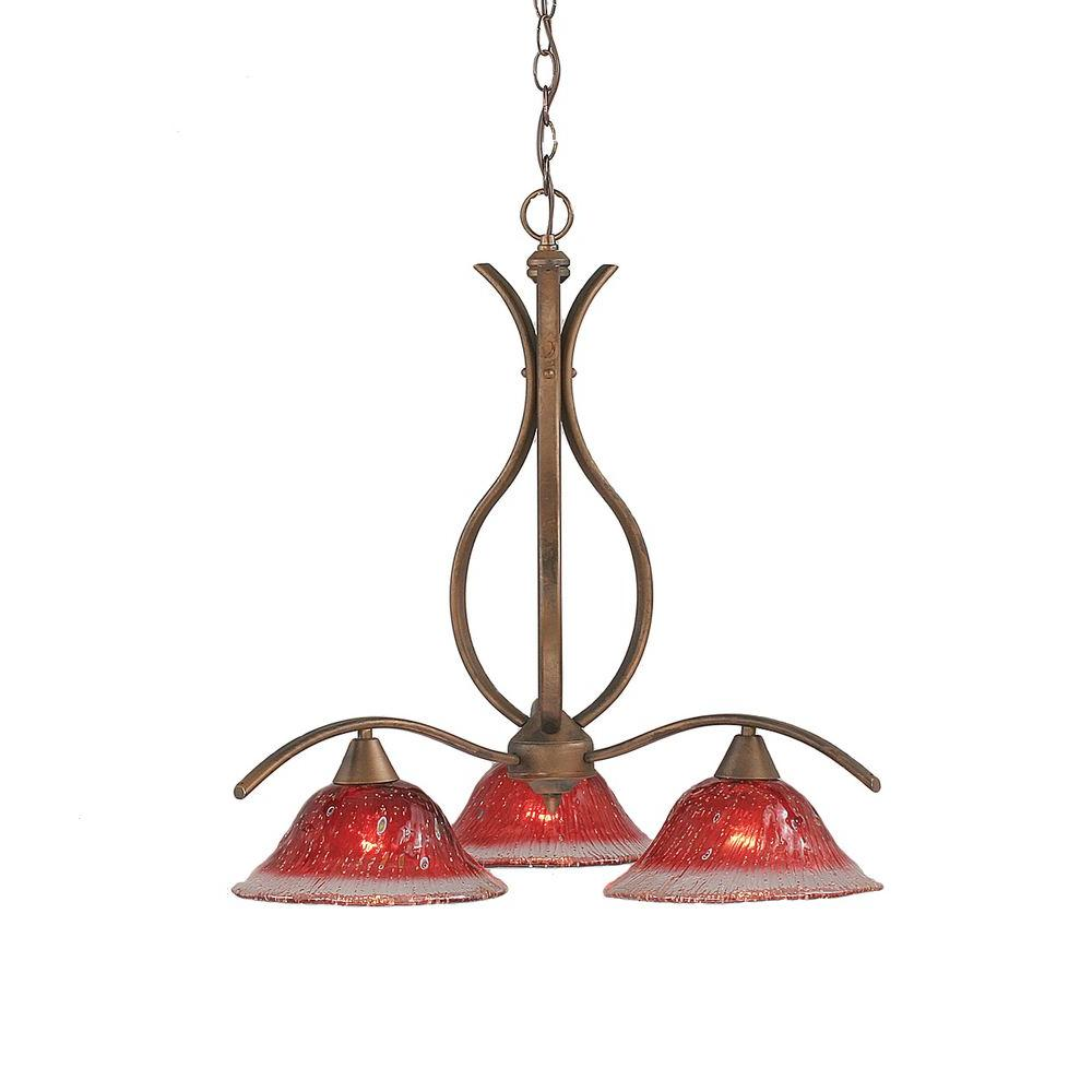 Concord 3-Light Bronze Chandelier with Raspberry Crystal Glass