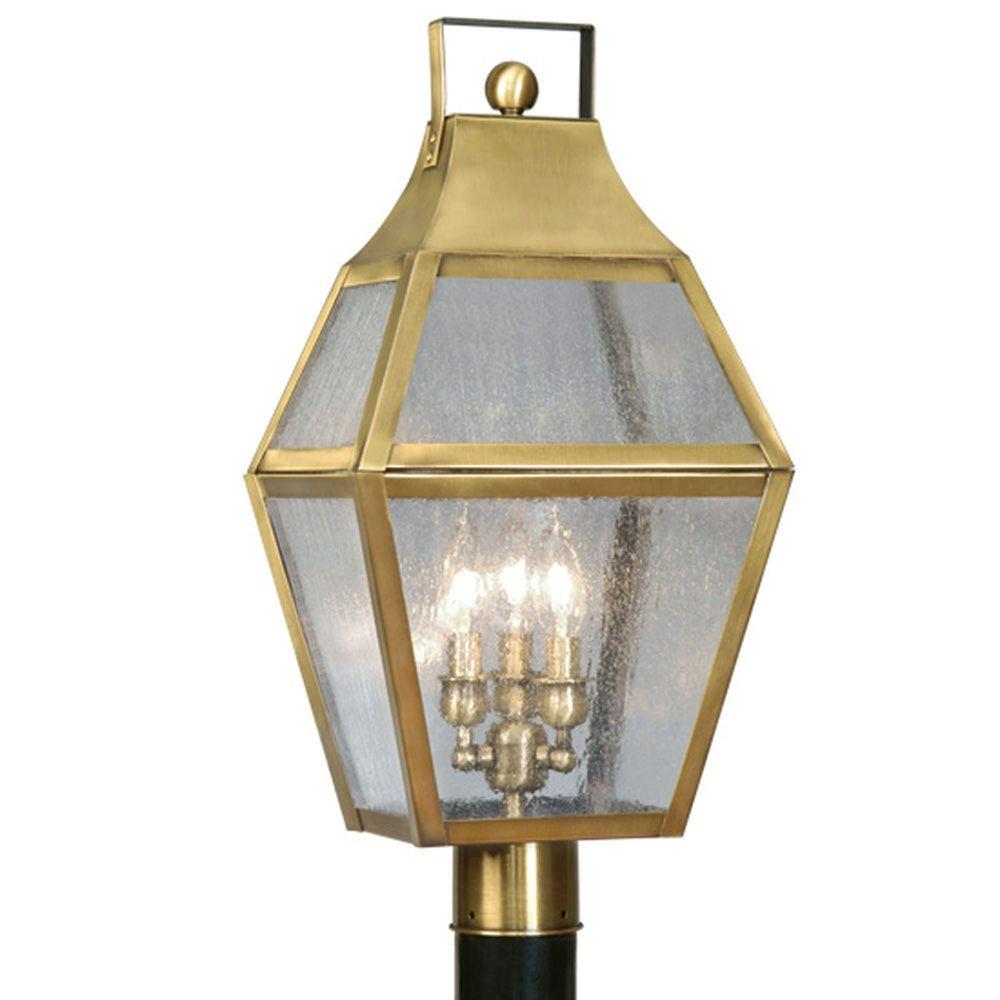 Providence 3-Light Outdoor Flemish Brass Incandescent Post Lantern