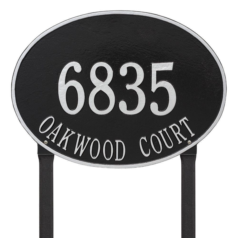 Hawthorne Estate Oval Black/Silver Lawn 2-Line Address Plaque