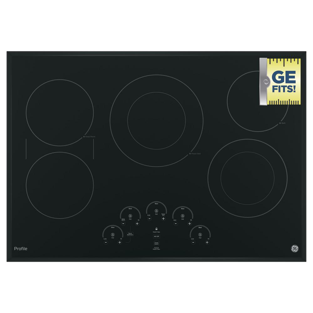 Ge Radiant Cooktops ~ Ge profile in electric cooktop black with