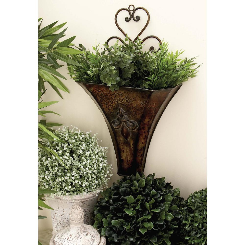 Brass-Finished Iron Floret Emblem Wall Planters (Set of 2)