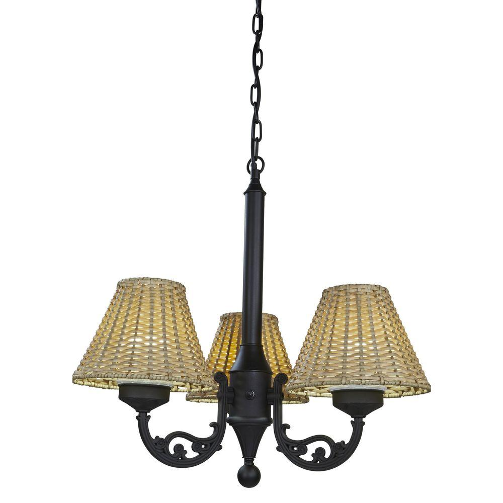 25 in. Black Body Versailles Outdoor Chandelier with Stone Wicker Shade