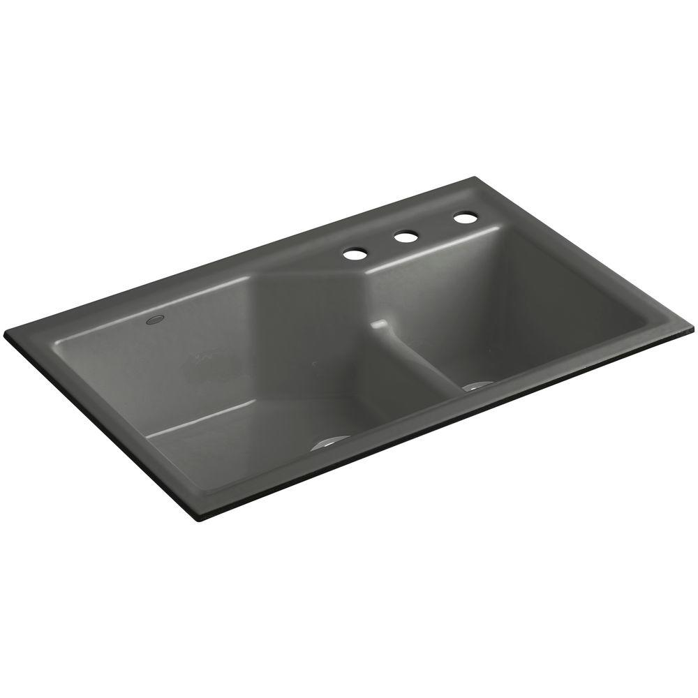 KOHLER Indio Smart Divide Undermount Cast Iron 33 in. 3-Hole Double