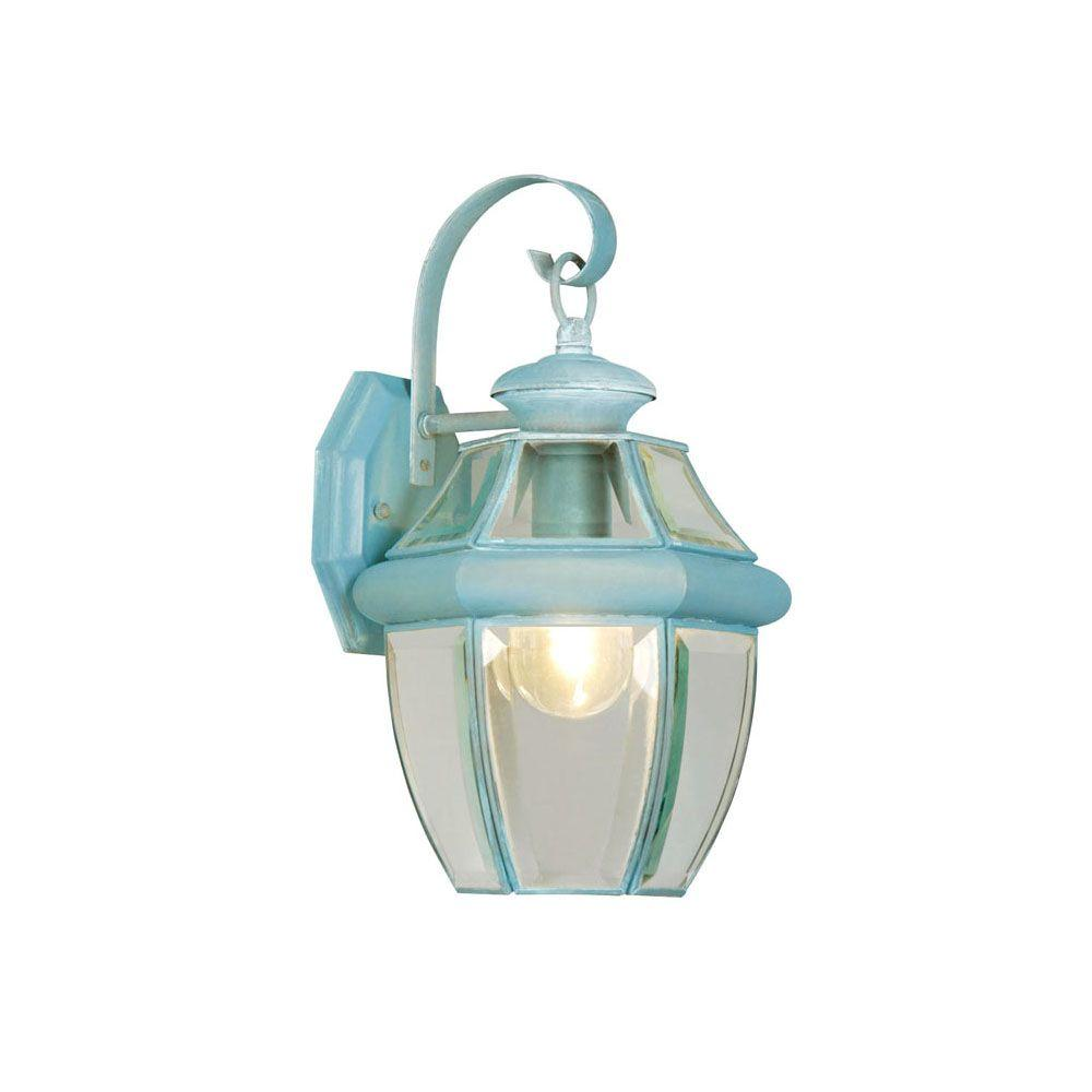 1-Light Verdigris Outdoor Wall Lantern with Clear Beveled Glass