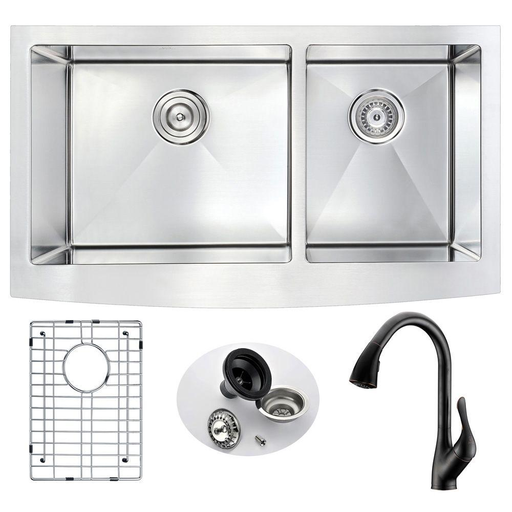ELYSIAN Farmhouse Stainless Steel 33 in. Double Bowl Kitchen Sink and