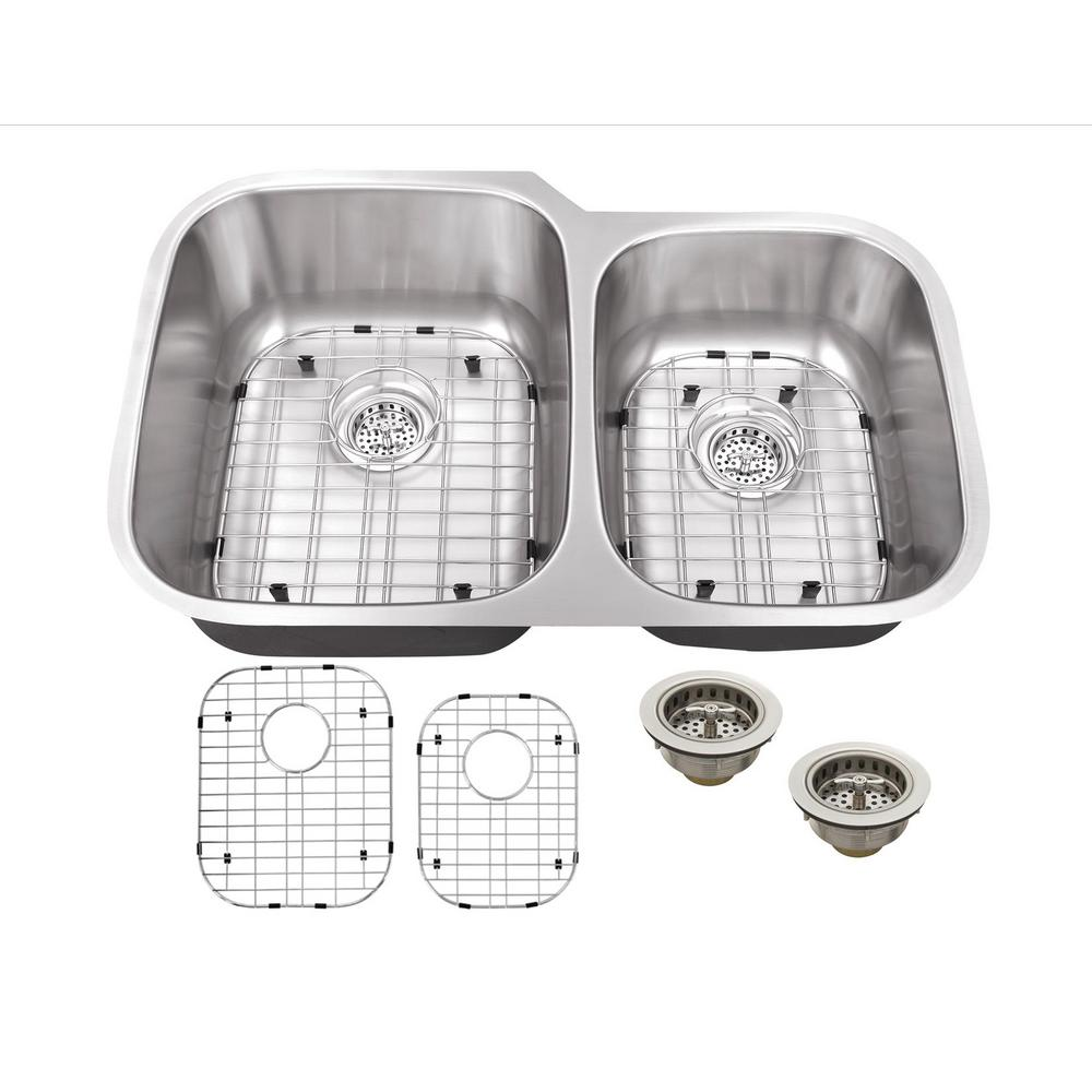 Undermount Stainless Steel 32 in. 60/40 Double Bowl Kitchen Sink with