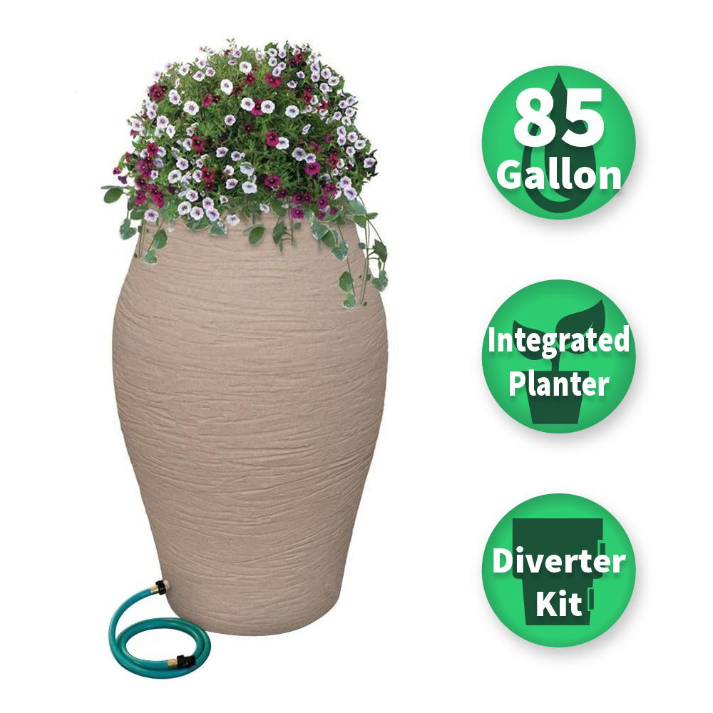 RESCUE 85 Gal. Sandstone WaterUrn Decorative Urn Rain Barrel Kit with Integrated Planter