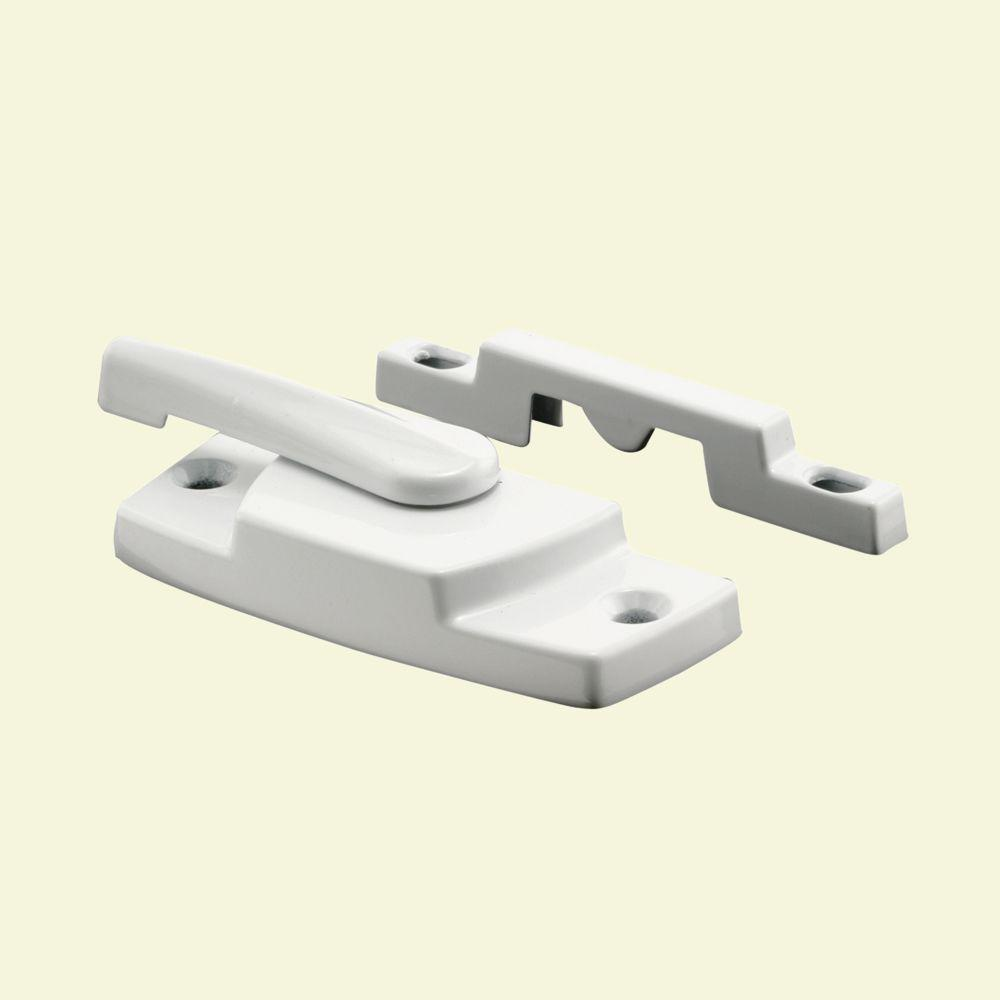 Prime-Line 2-1/4 in. x 7/16 in. White Vinyl Window Sash Lock with Keeper
