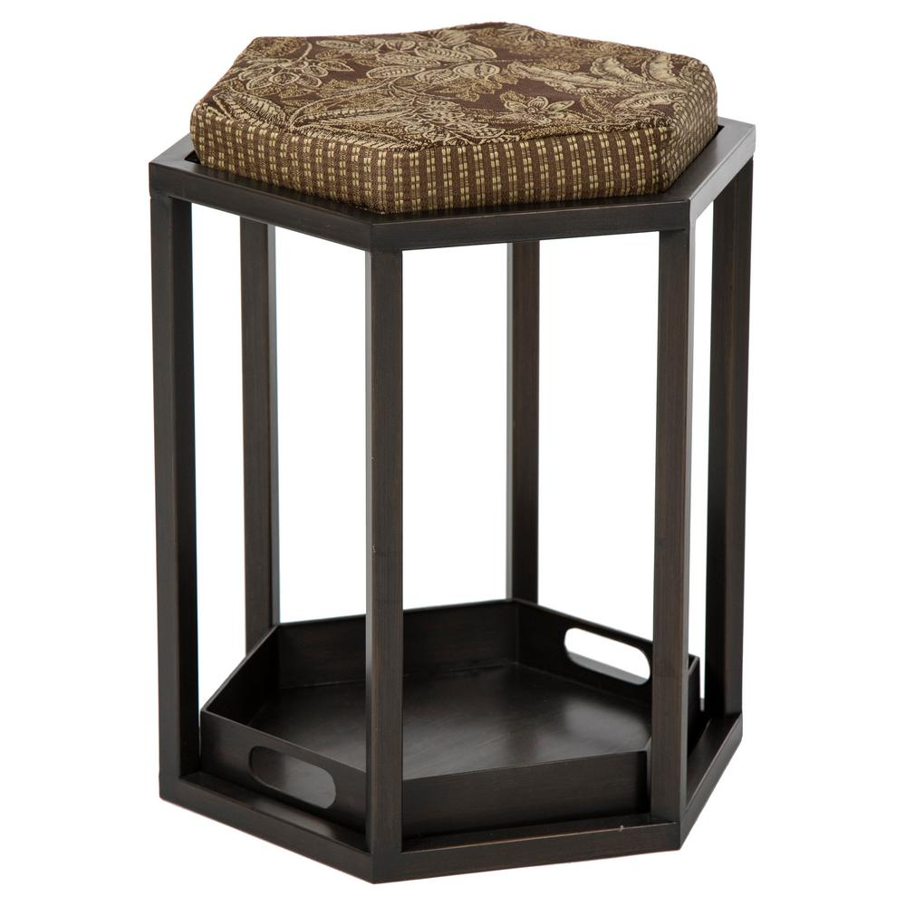 Burnished Copper Venetian Metal Outdoor Bar Stool with Mocha Cushion