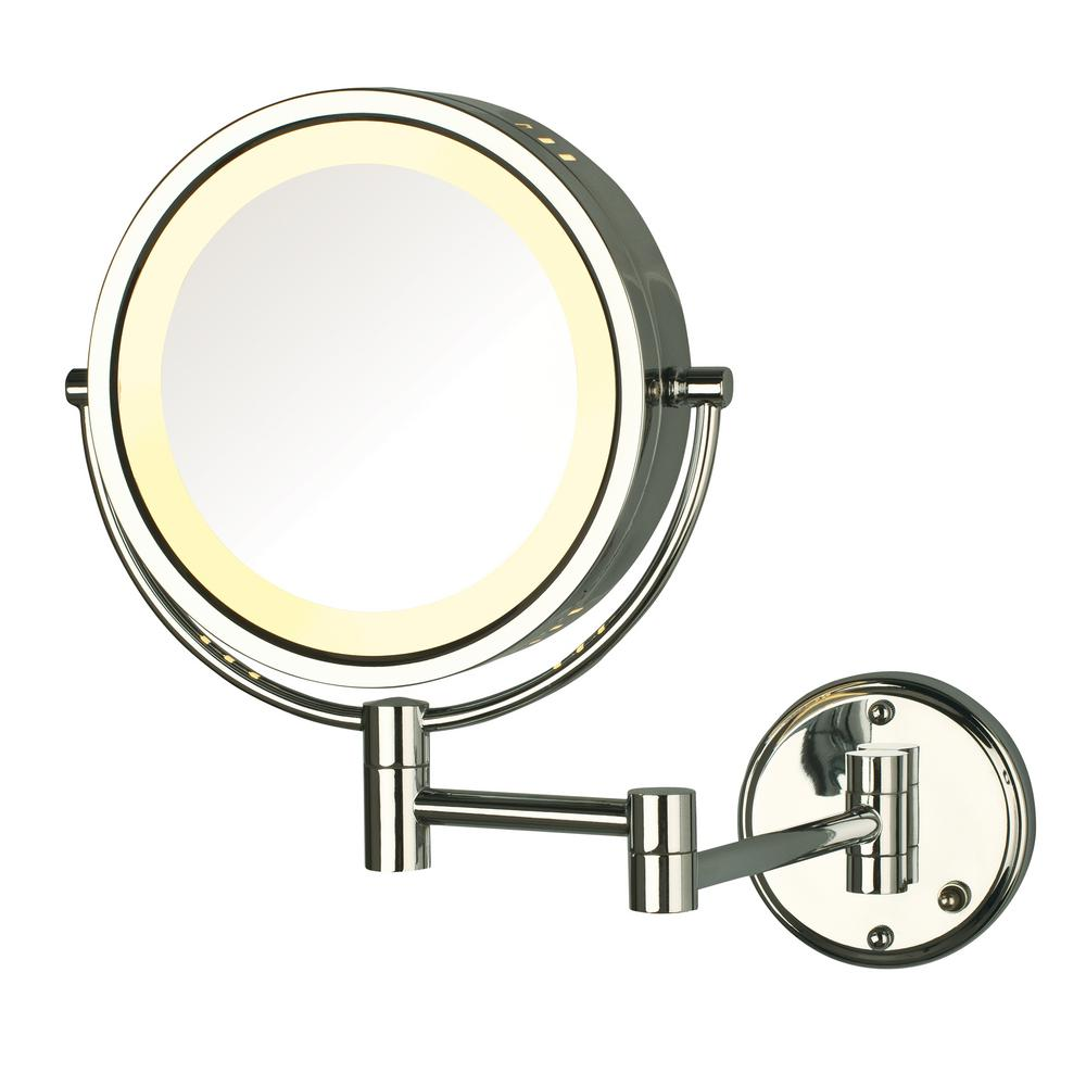 11 in. x 13.5 in. Lighted Wall Mirror in Chrome