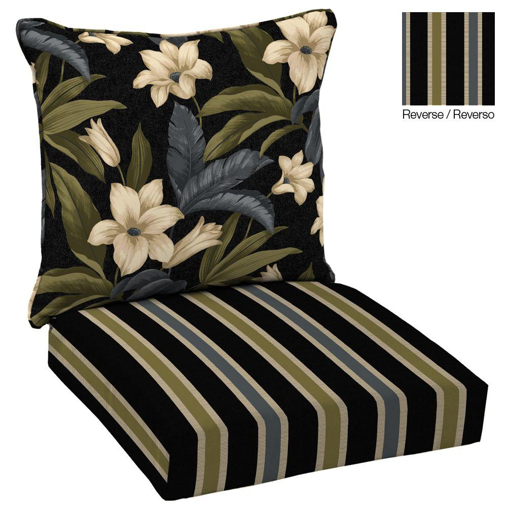Hampton Bay Reversible Black Tropical Blossom Welted 2-Piece Deep Seating Outdoor Lounge Chair Cushion Set