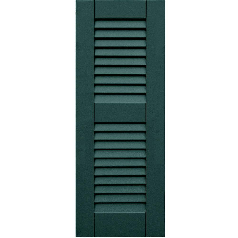 Winworks Wood Composite 12 in. x 32 in. Louvered Shutters Pair #633 Forest Green