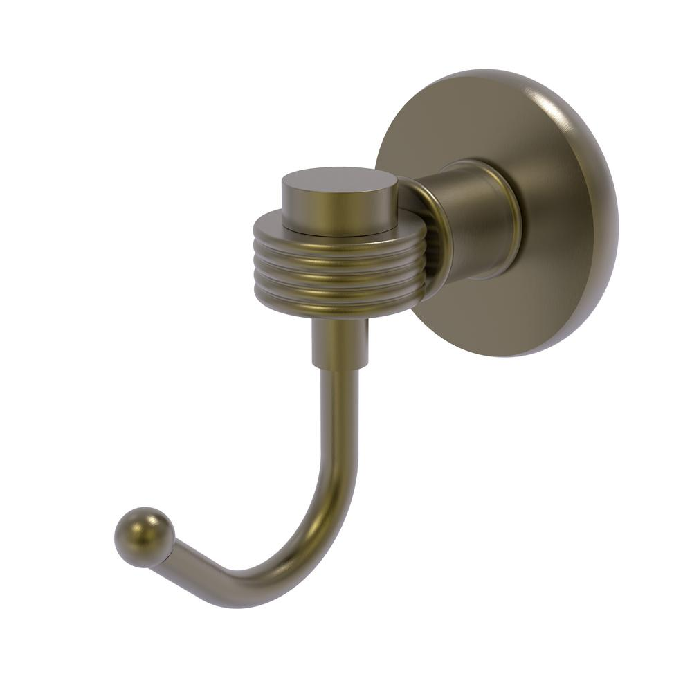 Continental Collection Wall-Mount Robe Hook with Groovy Accents in Antique Brass