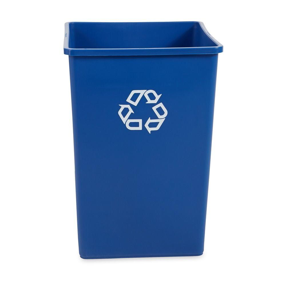 Untouchable 35 Gal. Blue Square Recycling Container