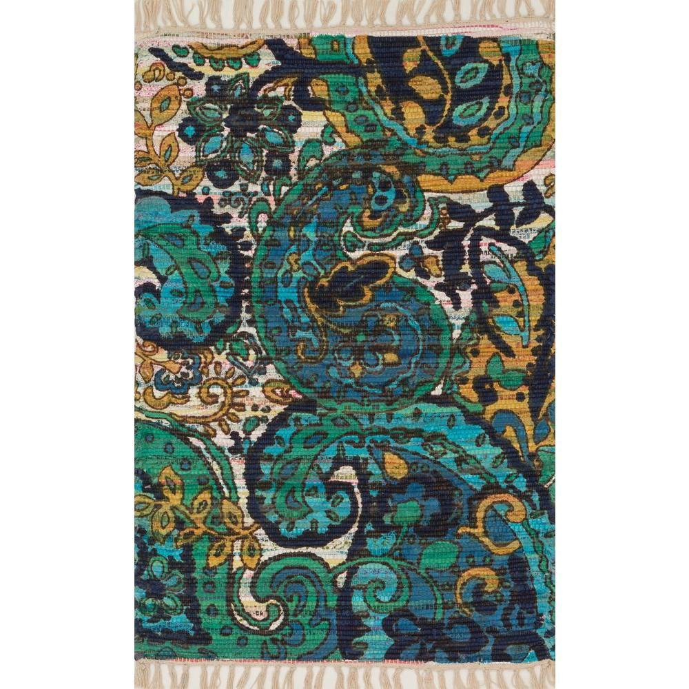 Loloi Rugs Aria Lifestyle Collection Blue/Multi 1 ft. 9 in. x 5 ft. Area Rug