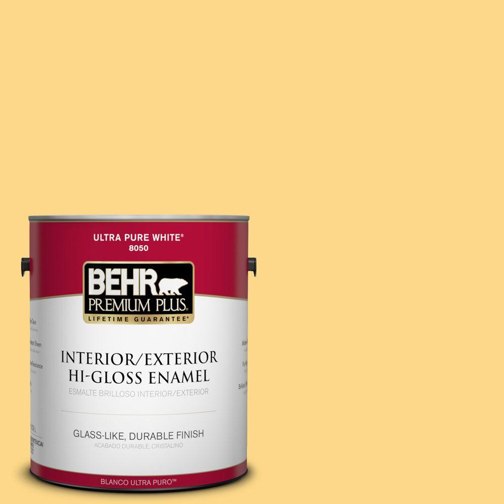 BEHR Premium Plus 1-gal. #P280-4 Surfboard Yellow Hi-Gloss Enamel Interior/Exterior Paint