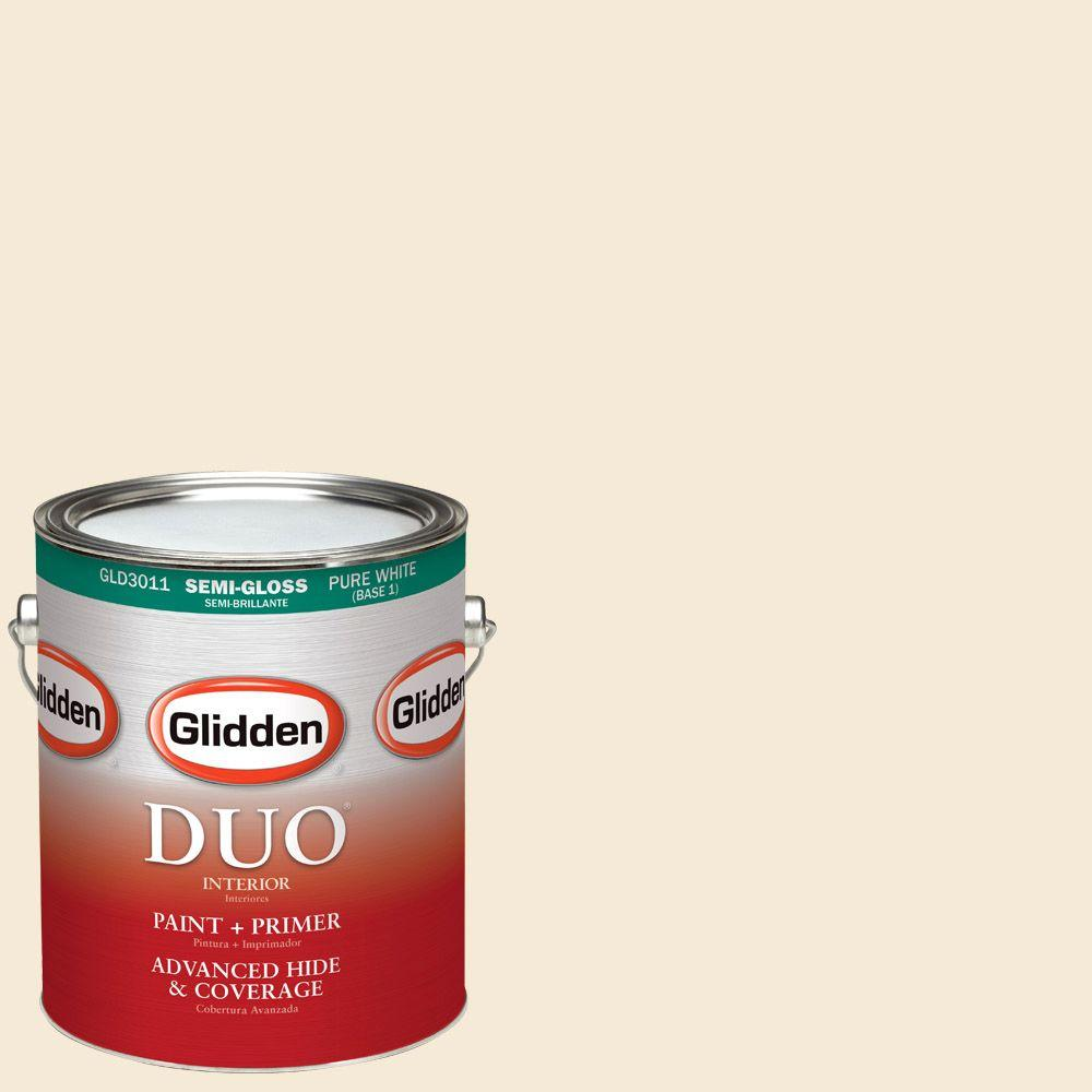 Glidden DUO 1-gal. #HDGO57U Currier Creme Semi-Gloss Latex Interior Paint with Primer