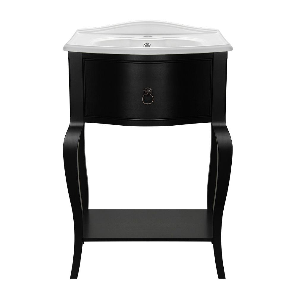 Camelot 23-1/2 in. W Bath Vanity in Black with Vitreous China