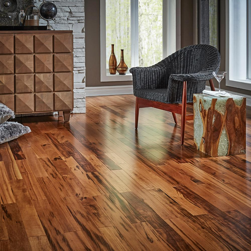 Home Legend Tigerwood 3/8 in. T x 3-1/2 in. W x Varying Length Click Lock  Exotic Hardwood Flooring (20.71 sq. ft. / case)-HL14H - The Home Depot - Home Legend Tigerwood 3/8 In. T X 3-1/2 In. W X Varying Length