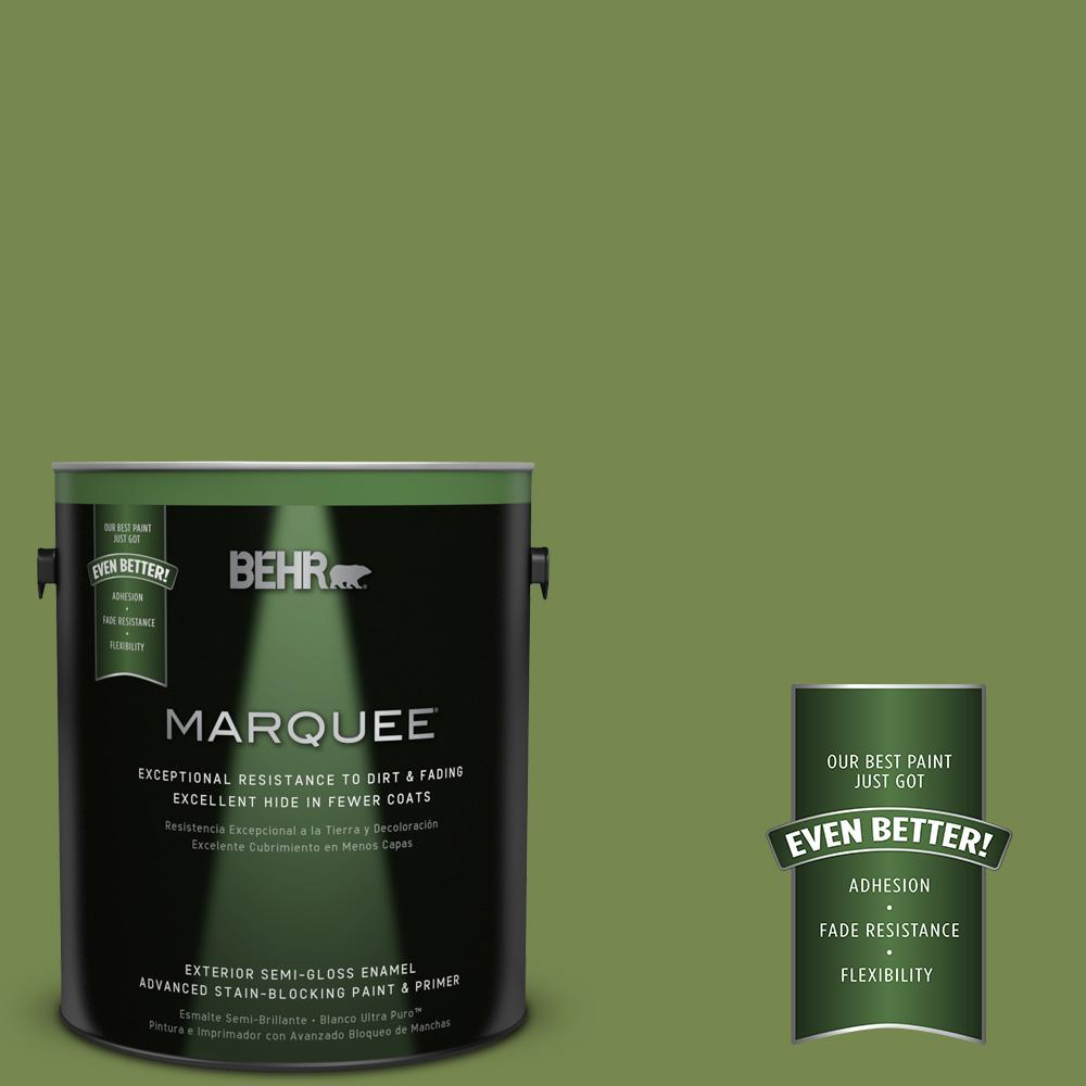1-gal. #HDC-SM14-2 Green Suede Semi-Gloss Enamel Exterior Paint