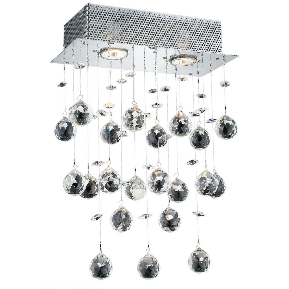 Elegant Lighting 2-Light Chrome Pendant with Clear Crystal-EL2021W12C/RC - The