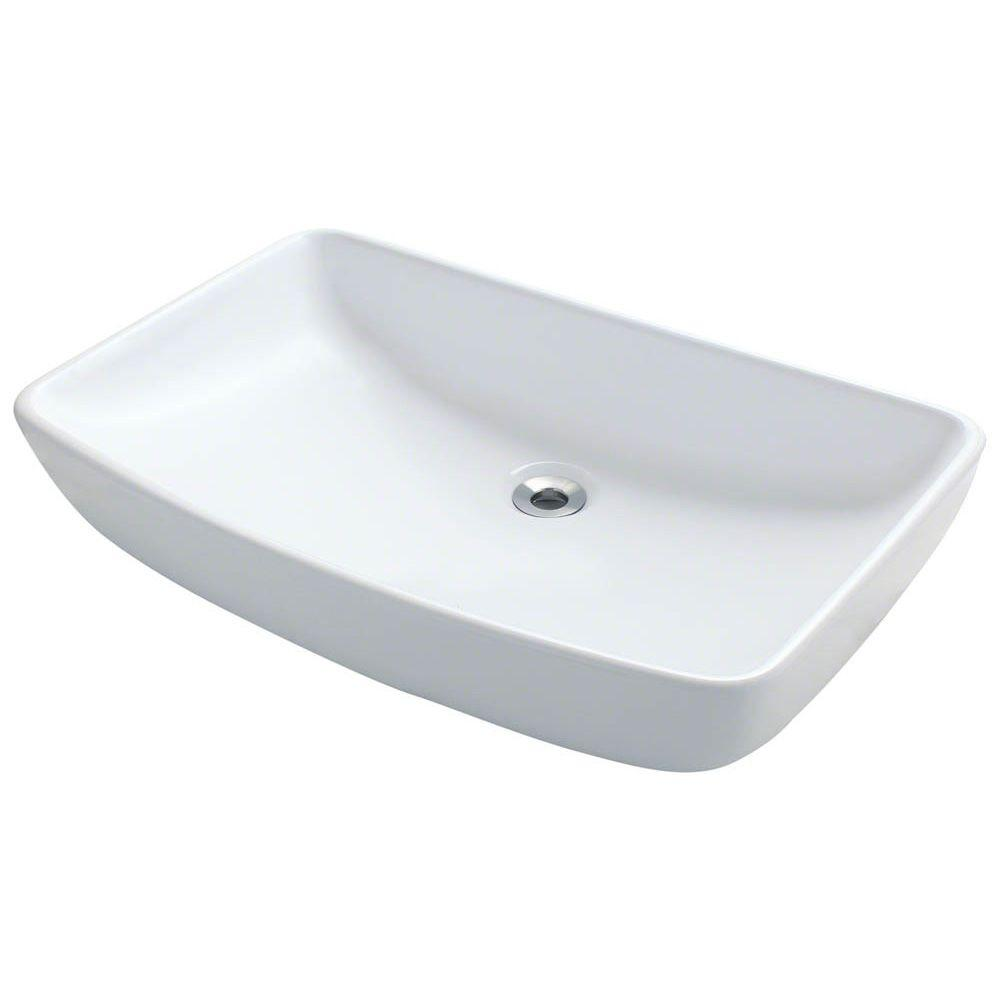 Home Depot Bathroom Vessel Sinks: Polaris Sinks Porcelain Vessel Sink In White-P053V-W