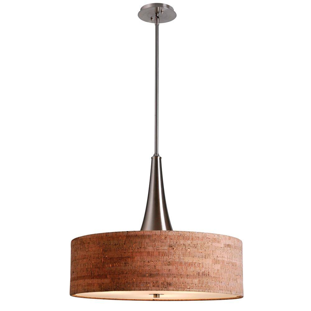 null Bulletin 3-Light Brushed Steel Ceiling Pendant with Cork Shade
