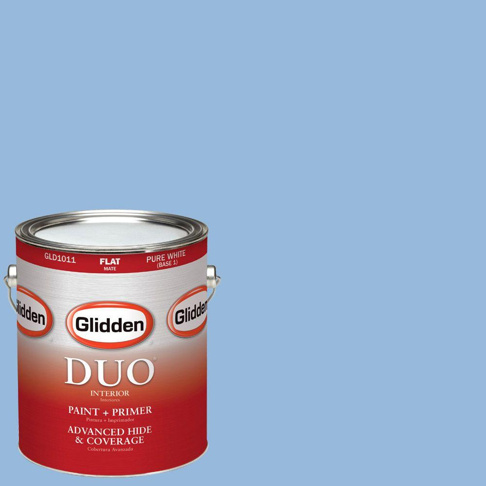 Glidden DUO 1-gal. #HDGV15 French Country Blue Flat Latex Interior Paint with Primer