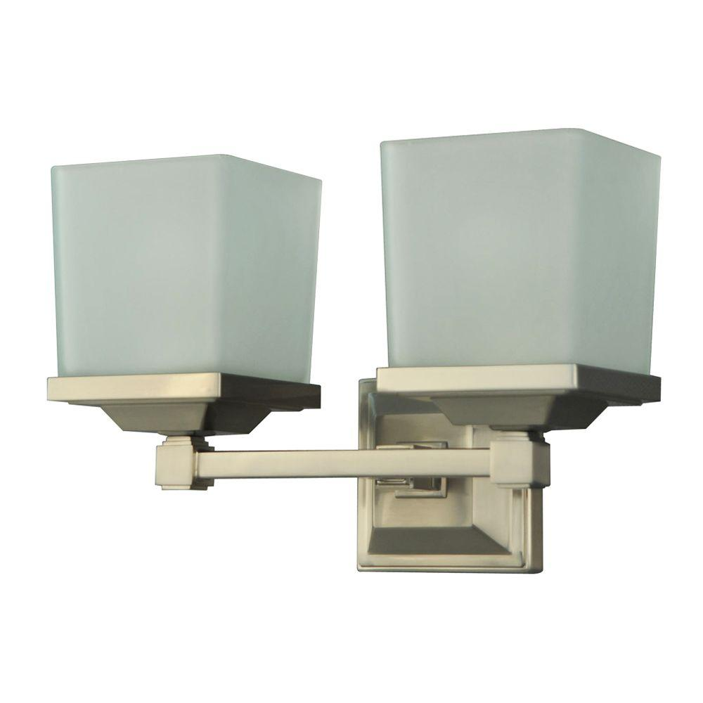 Martha Stewart Living Skylands Collection 2-Light Brushed Nickel Plated Vanity Light