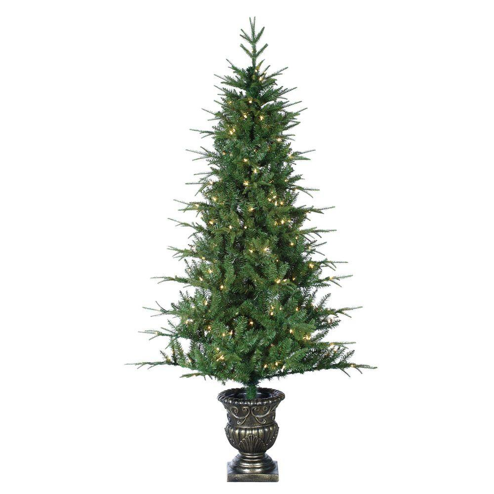 Sterling, Inc. Holiday Ornaments & Decor 6 ft. Pre-Lit Little Rock Fir Potted Natural Cut Artificial Christmas Tree with Clear Lights Greens 5543-60C