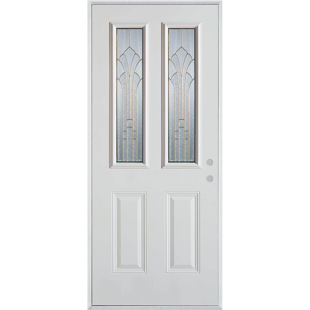 36 in. x 80 in. Art Deco 2 Lite 2-Panel Painted
