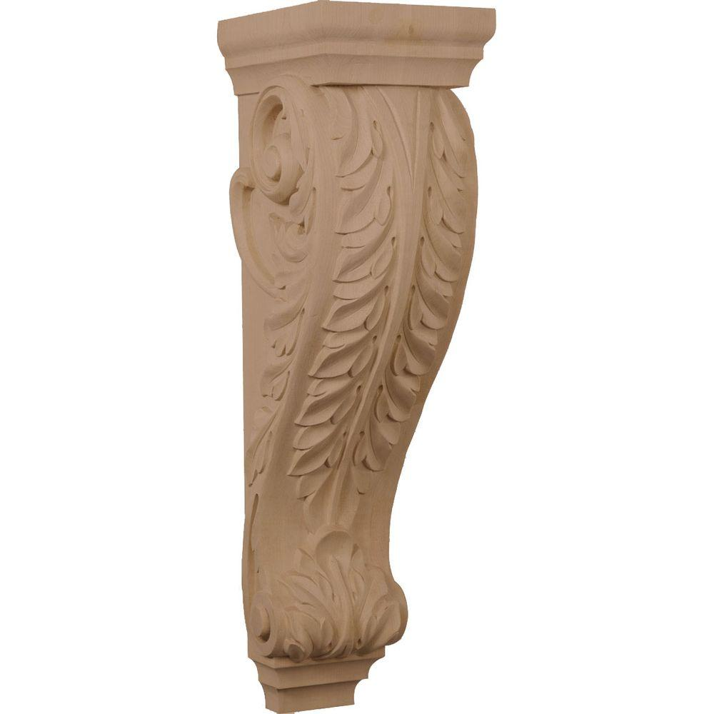 Ekena Millwork 8-1/2 in. x 7 in. x 26 in. Unfinished Wood Mahogany (Brown) Medium Jumbo Acanthus Corbel