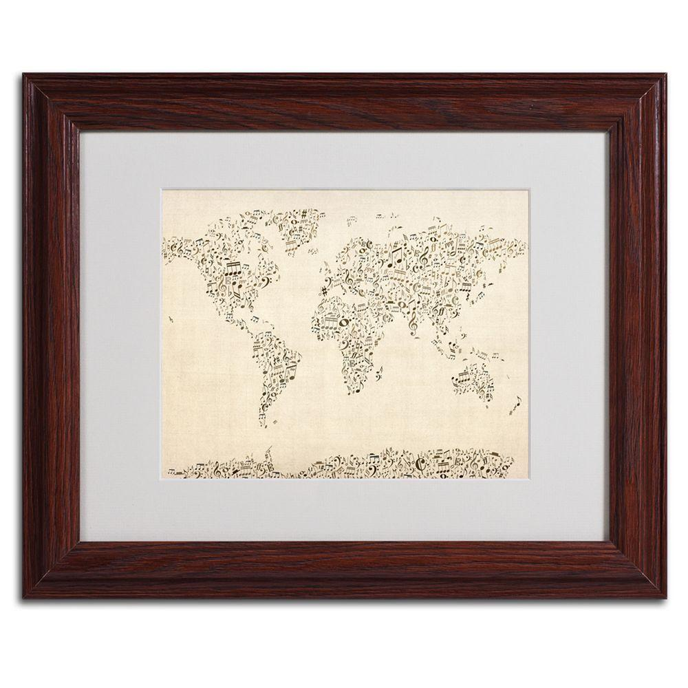 11 in. x 14 in. World Map - Music Notes Framed