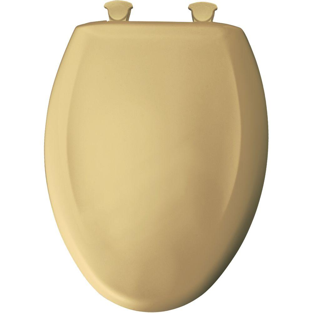 Slow Close STA-TITE Elongated Closed Front Toilet Seat in Desert Gold