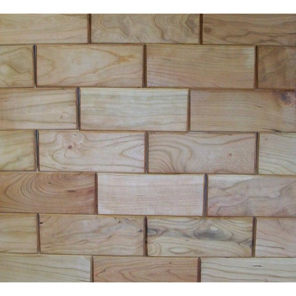 Rustix Woodbrix 3 in. x 8 in. Prefinished Cherry Wooden Wall Tile