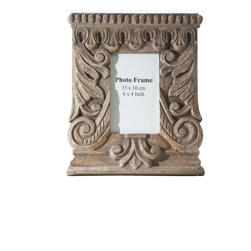 Home Decorators Collection Sabri 1-Opening 11 in. x 9.5 in. Carved Wood Photo Frame