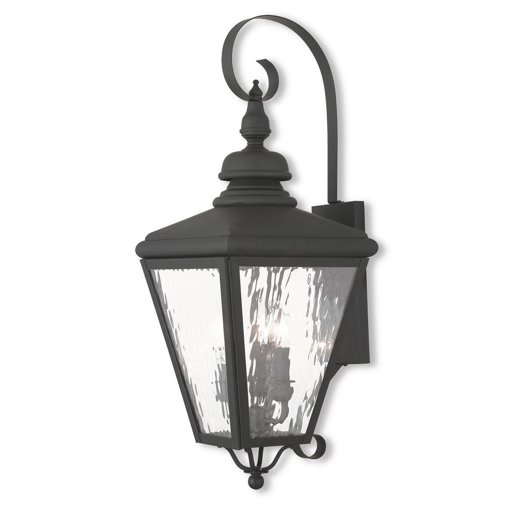 Cambridge 3-Light Black Outdoor Wall Mount Lantern