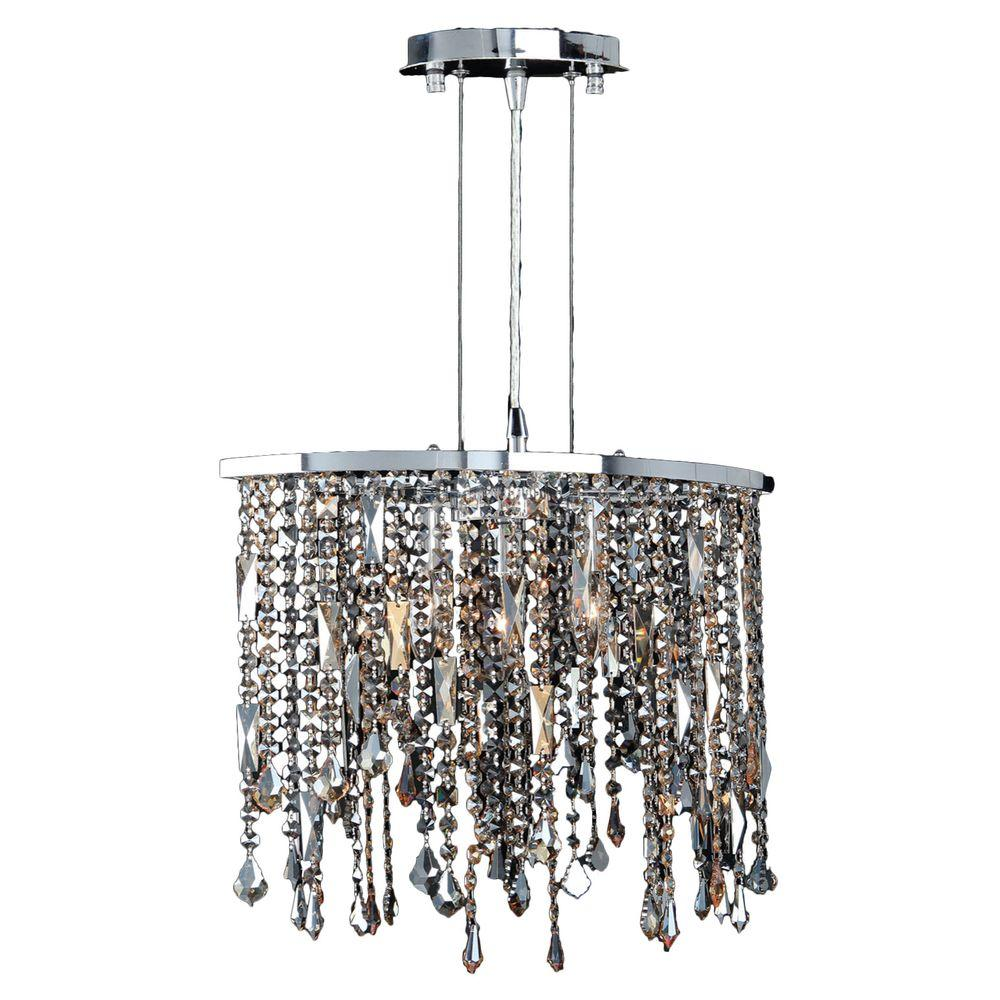 Worldwide Lighting Fiona 3-Light Chrome and Multi-Colored Crystal