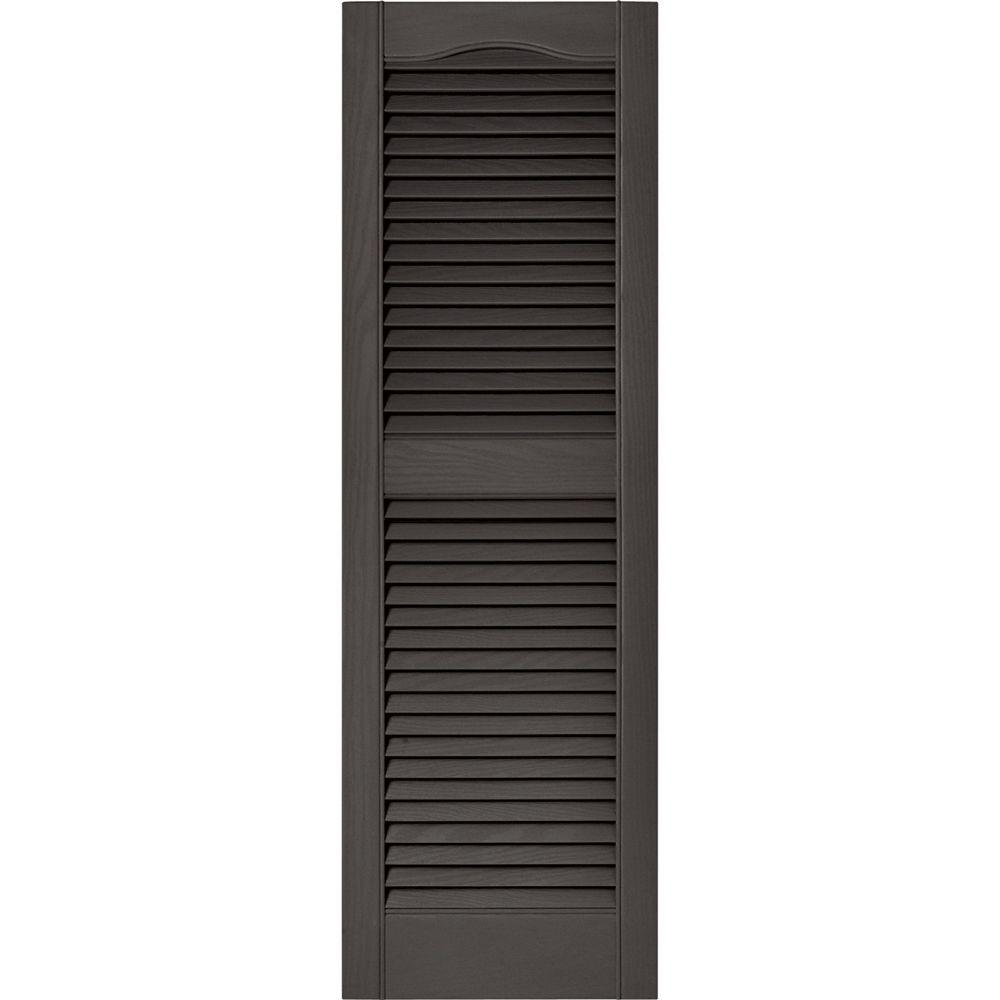 Builders Edge 15 in. x 48 in. Louvered Vinyl Exterior Shutters