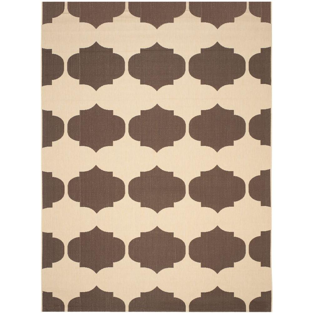 Courtyard Beige/Chocolate 6 ft. 7 in. x 9 ft. 6 in.