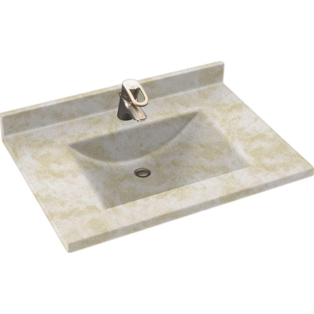 Solid Surface Vanity Tops With Sink : Swanstone contour bisque solid surface integral single