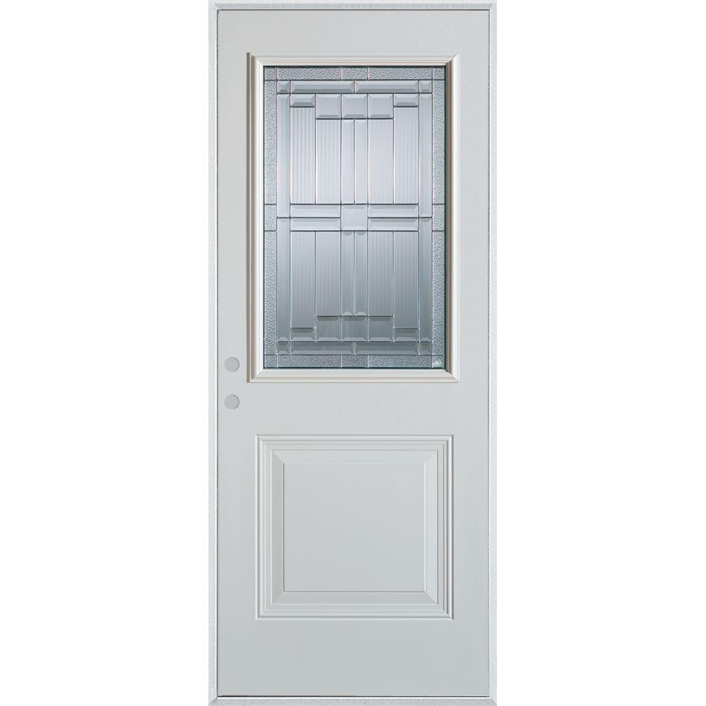 Stanley Doors 36 in. x 80 in. Architectural 1/2 Lite 1-Panel Painted White Steel Prehung Front Door, Prefinished White/Patina Glass Caming