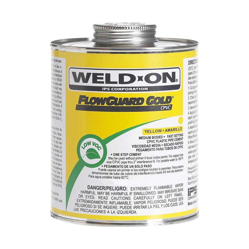 Weld-On Flow Guard 16 oz. CPVC Low VOC Cement, Yellow-11027 -