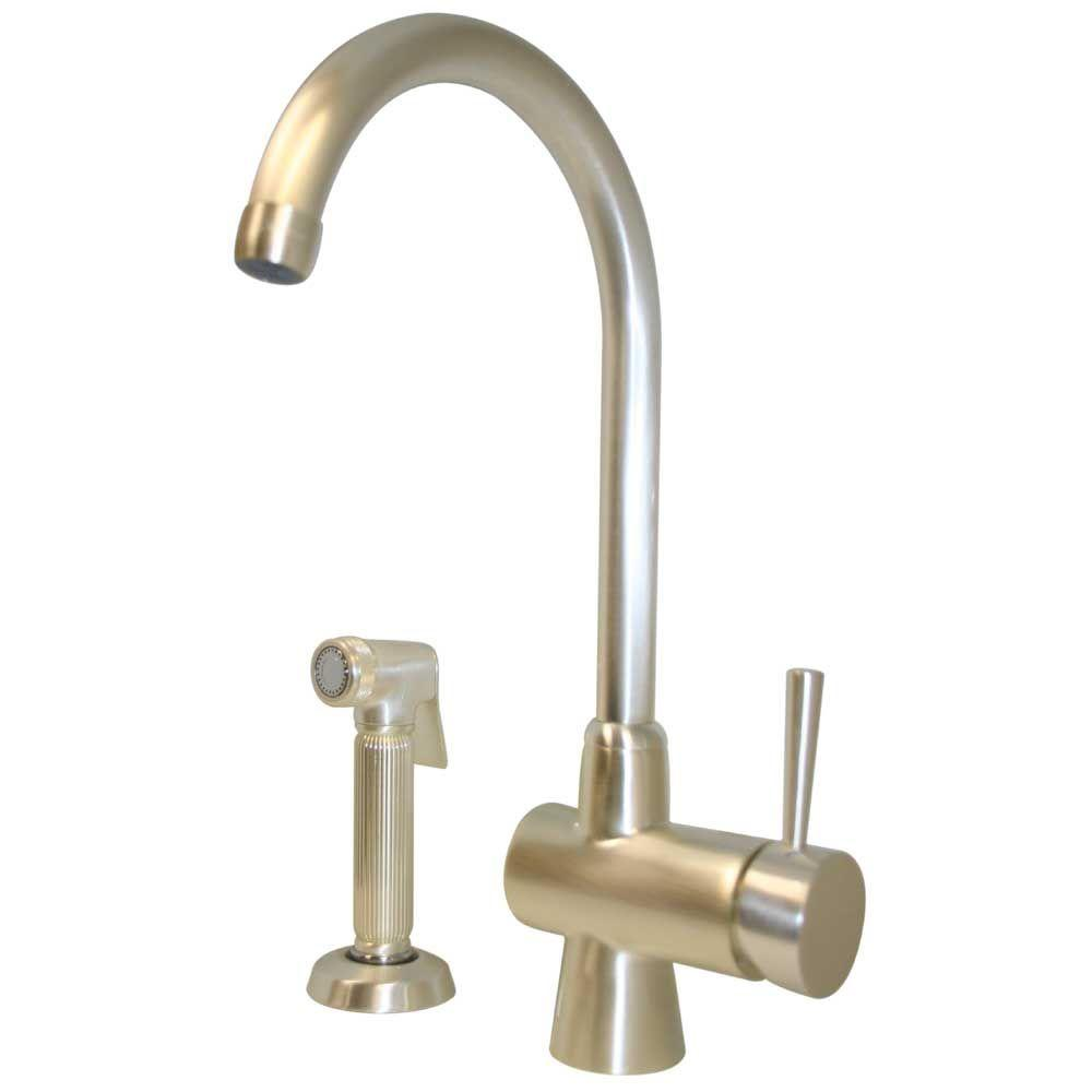 Whitehaus Collection Single-Handle Side Sprayer Kitchen Faucet in Silver Pearl